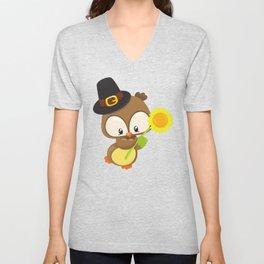 Thanksgiving Owl, Brown Owl With Pilgrim Hat Unisex V-Neck