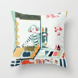 Market Stalls Throw Pillow