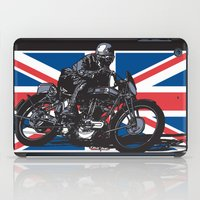 cafe racer iPad Cases featuring NORTON TT RACER | DARK by Ernie Young