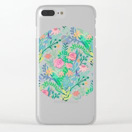 Roses + Green Messy Floral Posie Clear iPhone Case