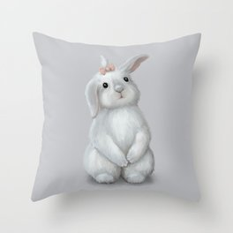 White Rabbit Girl Throw Pillow