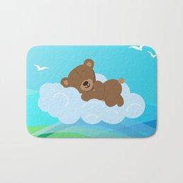 Teddy Bear & clouds , Nursery Bath Mat