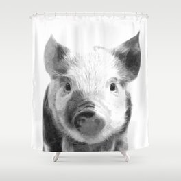 Black and white pig portrait Shower Curtain