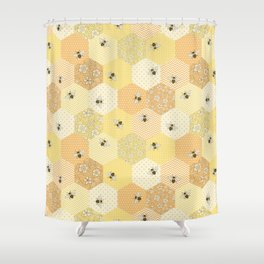 Patchwork Bees Pattern Shower Curtain