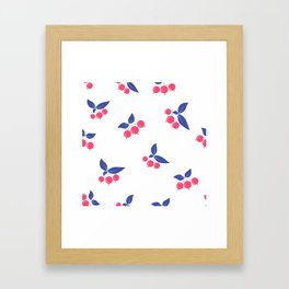 Seamless floral berry cherry pattern on white background Framed Art Print