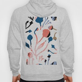 Mauve pink black blue abstract floral illustration Hoody