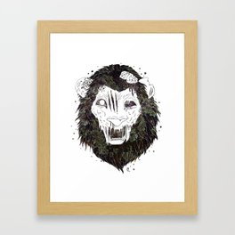 Infestation // Zombie Lion Framed Art Print