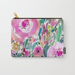 Pink Pow Wow Abstract Painterly Floral Carry-All Pouch