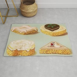 Decorated French Cakes Gateaux, Pastry, petit fours - T. Percy Lewis & A. G. Bromley Poster Rug