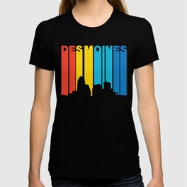Retro 1970's Style Des Moines Iowa Skyline T-shirt