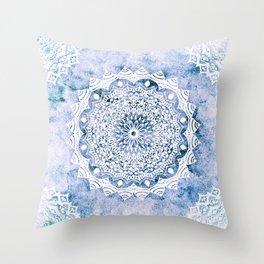 BLUE SKY MANDALA Throw Pillow
