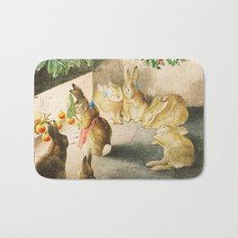 Bunnies roasting apples over an open fire Bath Mat