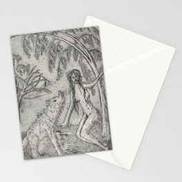 Nude and wolf Stationery Cards