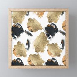 Artistic watercolor black orange gold brushstrokes Framed Mini Art Print