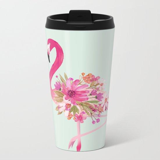 Flamingo with flowers Metal Travel Mug