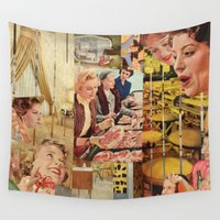 meat Wall Tapestries featuring Meat Ladies by Stella Noelle