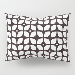 Black geometric floral leaves pattern in mid century modern style Pillow Sham