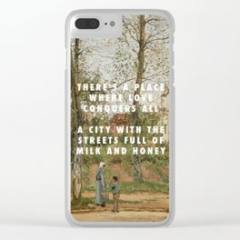 Camille Pissarro, Houses at Bougival (Autumn) (1870) / Halsey, Good Mourning (2017) Clear iPhone Case