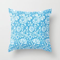 "William Morris Floral Pattern | ""Pink and Rose"" in Turquoise Blue and White Throw Pillow"