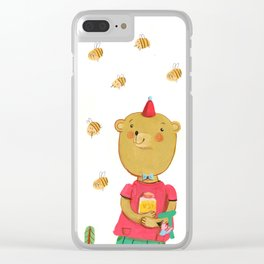 Honey Bear, Busy Bees Clear iPhone Case