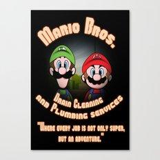 Super Mario Bros. Drain Cleaning & Plumbing Service Canvas Print