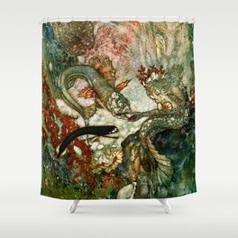 """""""King of the Mermaids"""" Fairy Tale Art by Edmund Dulac Shower Curtain"""