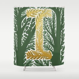 Botanical Metallic Monogram - Letter I Shower Curtain
