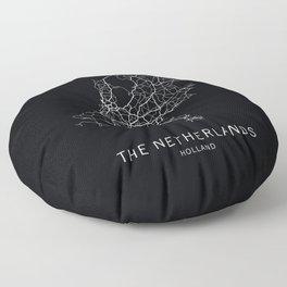 The Netherlands Road Map Floor Pillow