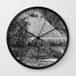 Mexico Hut sketched Wall Clock