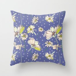 Summer  Daisies with purple and polkadots Throw Pillow