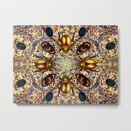 Jeweled Beetles and African Marigold Metal Print
