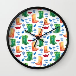 Colorful orange blue green watercolor cute wellies boots Wall Clock
