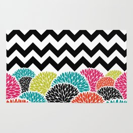 Tropical Flowers Chevron Rug