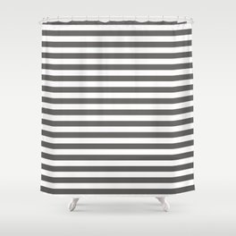 Pantone Pewter Gray & White Uniform Stripes Fat Horizontal Line Pattern Shower Curtain
