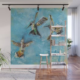 Hummingbird Trio: A Brave Black-chinned takes on the Rufous Twins Wall Mural