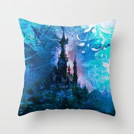 Blue Grunge Fairytale Fantasy Castle Throw Pillow