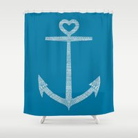 kpop Shower Curtains featuring Love is the anchor by Picomodi
