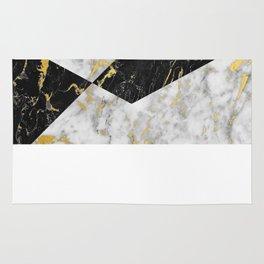 Diamond // Gold Flecked Black & White Marble Rug