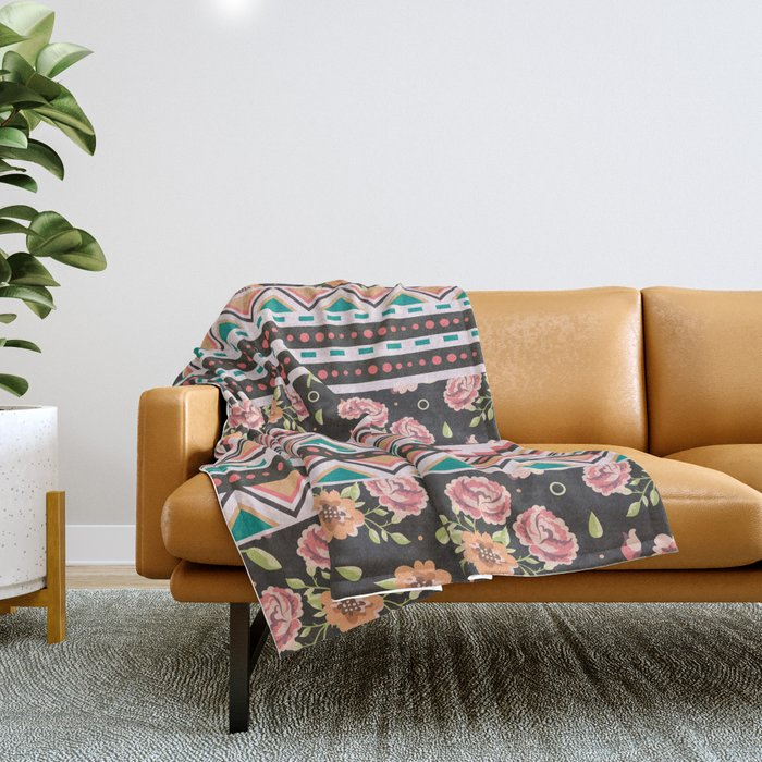 Floral Aztec Tribals Throw Blanket