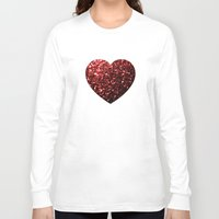 sparkles Long Sleeve T-shirts featuring Red Glitter sparkles Heart  by PLdesign