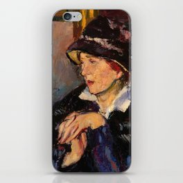 Woman with a Dark Hat iPhone Skin