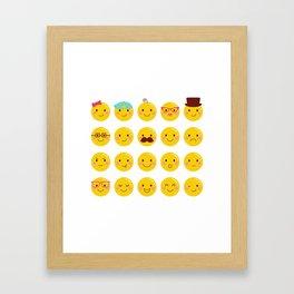 Cheeky Emoji Faces Framed Art Print