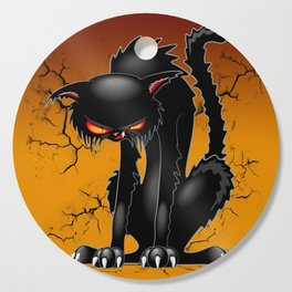 Black Cat Evil Angry Funny Character Cutting Board