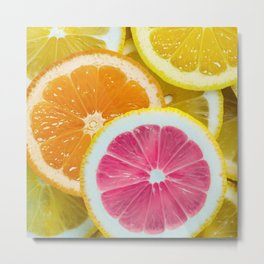 Orange, Pink & Yellow Fruit Slices Metal Print