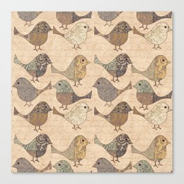 Nostalgic Autumn Patchwork Bird Pattern in warm retro colors #autumndecoration Canvas Print