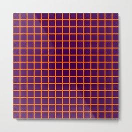 Orange On Purple Grid Metal Print
