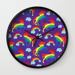 Rainbow unicorns Wall Clock