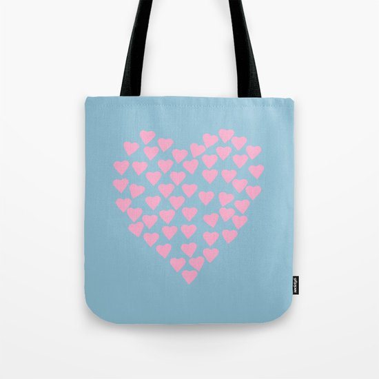 Hearts Heart Pink on Blue Tote Bag