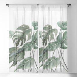 Greenery Squares Watercolor Painting Sheer Curtain