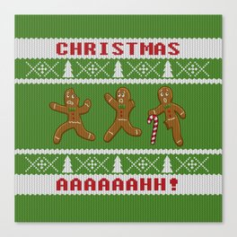 Ugly Christmas Sweater Scared Gingerbread Men Green Canvas Print